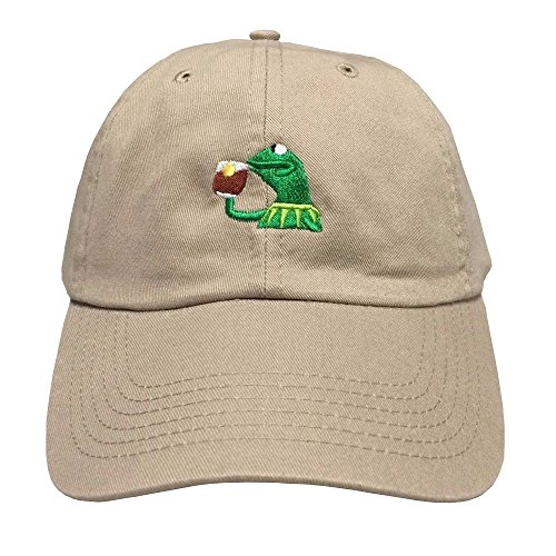 KERMIT TEA Hat StrapBack none of my business Emoji Frog James meme Cap ()