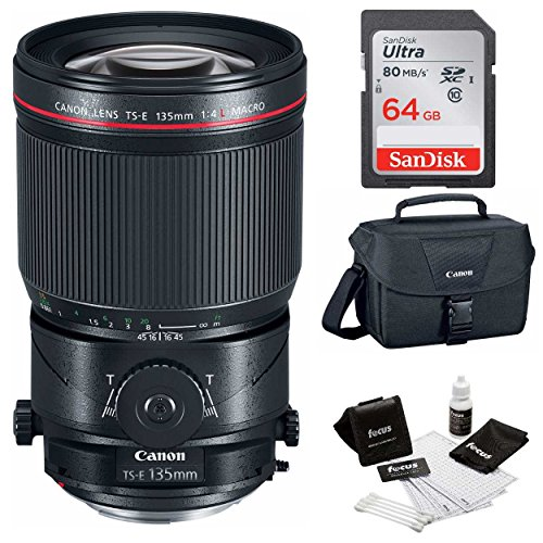 Canon TS-E 135mm f/4L Macro Tilt-Shift Lens + 64GB Memory Card + Canon 100ES Camera Gadget Bag + Cleaning Kit by Focus Camera