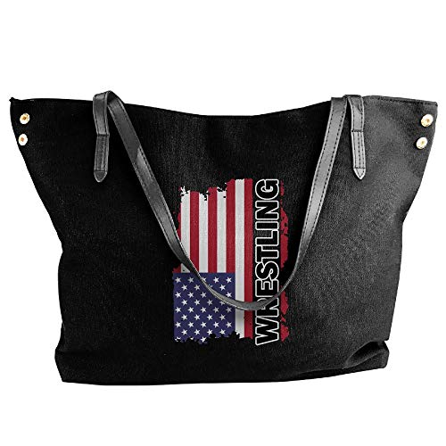 Women Canvas Handbags,USA Flag Wrestling-2 Printing Top Handle Bag For Women by DDG05FD