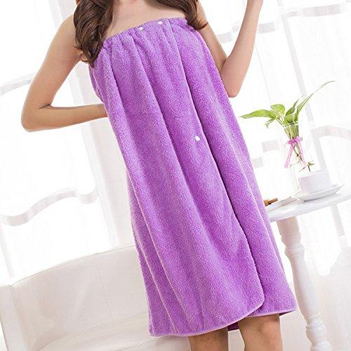 Bathrobes Women Bathing Wearable Bath Towel+Hair B-and Coral Cashmere Fleece Women Robe Towels Bath Skirt Color ()