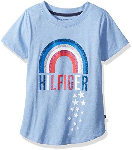 Tommy Hilfiger Little Girls' Graphic Tee, Heathered Rain, Large (Tee Hilfiger Tommy Girls)