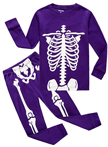 Family Halloween Costumes With Toddler (Family Feeling Little Girls Halloween Gift Skeleton Costumes Pajamas Sets Long Sleeve Kids Toddler Pjs Size 2T Purple)