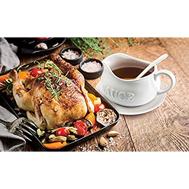 24 Oz Gravy Boat, Tray and Ladle | Ceramic White Gravy Boat With The Word Sauce  On It