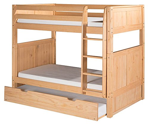Camaflexi Panel Style Solid Wood Bunk Bed with Trundle, Twin-Over-Twin, Side Attached Ladder, Natural