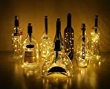 Bottle Lights Metal Cork Shape 20 Warm White LED with 6-Hour Timer Steady