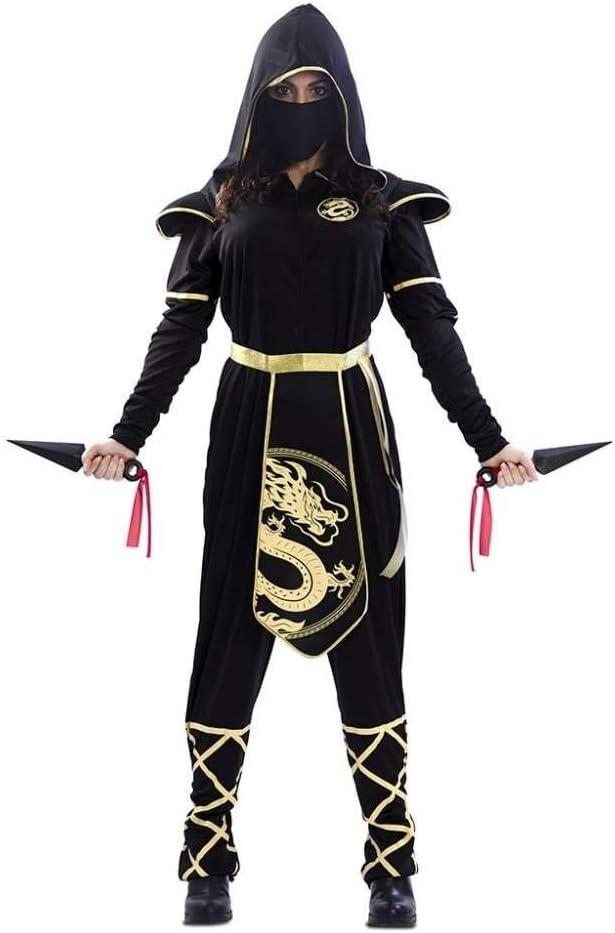 EUROCARNAVALES Disfraz de Ninja Negro y Dorado para Mujer: Amazon ...