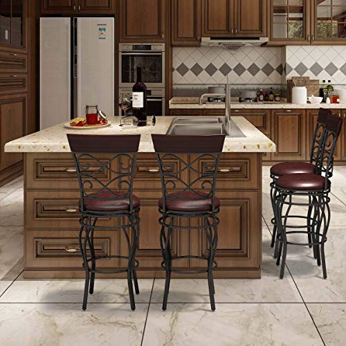 "COSTWAY Bar Stools Set of 4, 360 Degree Swivel, 30"" Seat Height Bar stools, with Leather Padded Seat Bistro Dining Kitchen Pub Metal Vintage Chairs (Set of 4)"