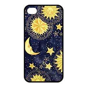 Sun and Moon Design Solid Rubber Customized Cover Case for iPhone 4 4s 4s-linda4
