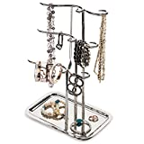 H Potter Jewelry Tree Organizer & 3 Tier Display Stand with Tray – Hanging Storage Holder for Necklaces Bracelets Rings Earrings Watches GAR603