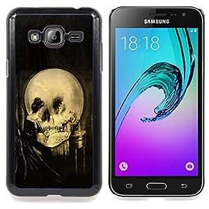 """Qstar Arte & diseño plástico duro Fundas Cover Cubre Hard Case Cover para Samsung Galaxy J3(2016) J320F J320P J320M J320Y (Vintage del arte del cráneo"""")"""