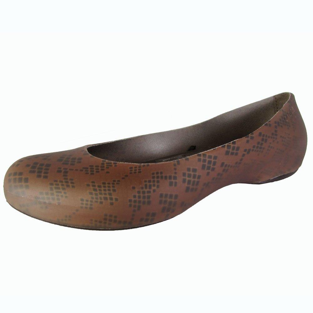 Crocs Women's ThermaLucent Snake Print Flat B006VCRATA 11 B(M) US|Bronze/Espresso