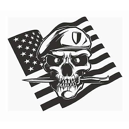 hllhpc Calavera Daga Bandera de los EE. UU. Etiqueta Engomada del ...