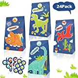 24 Pack Dinosaur Goodie Candy Treat Bags Dino Kids Birthday T-Rex Roar Party Favor Supplies-Including Thank You Stickers