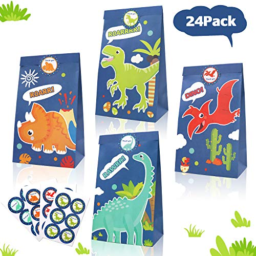 24 Pack Dinosaur Goodie Candy Treat Bags Dino Kids Birthday T-Rex Roar Party Favor Supplies-Including Thank You Stickers ()