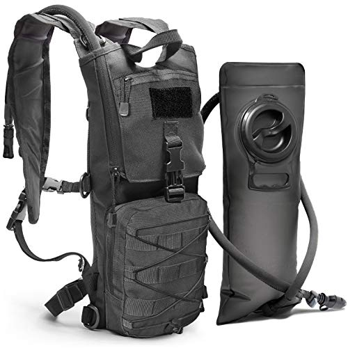 Diaz Sport Tactical Molle Hydration Pack Backpack with 3L Water Bladder. Lightweight & Durable Military Daypack Keeps Water Cold for Up to 4 Hours (Black + No Cleaning Kit Included)