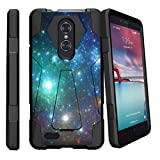 ZTE Zmax Pro Hybrid Case (MetroPCS) [SHOCK FUSION] Slim Fitted Heavy Duty Kickstand Defender Case by Miniturtle - Blue Space Specs