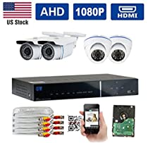 GW Security New AHD 4 Channel 1080P DVR Video Surveillance Camera System 4 1080P 2.1 Megapixel Outdoor/Indoor Weatherproof IR Night Vision Bullet and Dome Security Camera