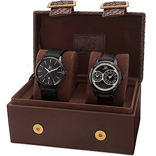 Joshua Sons Men s Quartz Watch Set, Genuine Leather Strap, Watch Display Box Included