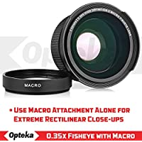 Opteka .35x High Definition II Super Wide Angle Panoramic Macro Fisheye Lens for Canon EOS 80D, 70D, 60D, 50D,1Ds, 7D, 6D, 5D, Rebel T7i, T6i, T5i, T7i, T6, T5i, SL1 and SL2 DSLR with UV Filter