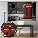 Poster - Banksy Street Art Love is in The Air - Wallpaper Red Telephone Booth Decoration Stencil Mural Modern Graffiti Poster Wall Decor (55 x 39.4 Inch/ 140 x 100 cm)