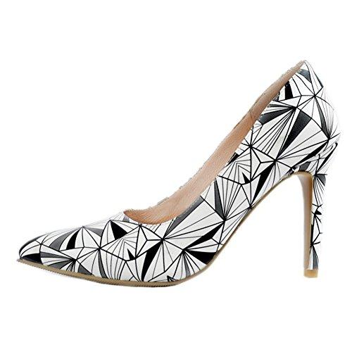 Kolnoo Womens Handcrafted Patchwork Large Size High Heel Pumps Fashion Shoes Gray jrifHA
