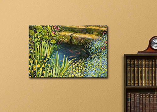 A Small Tranquil Pond with Fishes and Colorful Blooming Flowers in Oil Painting Style Wall Decor