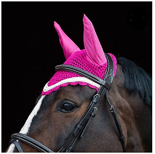 (Horze PONY PINK Windsor Crocheted Cotton Stretch Mesh Triple Trim Edge Ear Net)