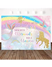 Unicorn Mermaid Fairy Birthday Backdrop, Swim with Mermaids Ride A Unicorn Party Decorations Rainbow Magical Birthday Party Banner Photography Background (7x5ft)
