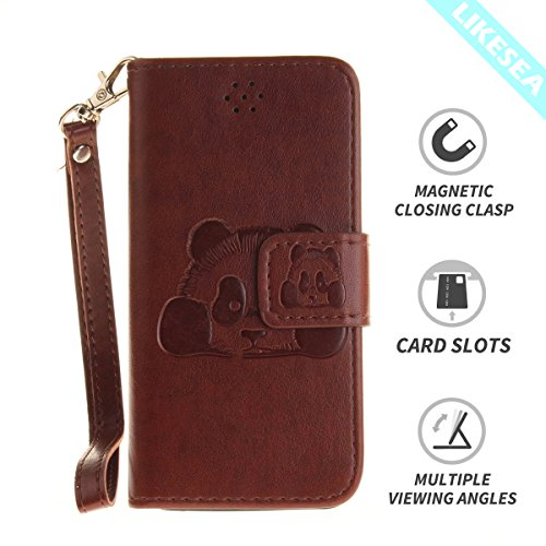 LIKESEA Panda Wallet Case for Apple iPhone 5/ 5S/ SE, Premium PU Leather Protective Flip Cover with Card Slots, Magnetic Closure and Stand Function, Brown