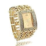 Women Quartz Wristwatch Wrist Watch Bracelet Gold Band Rhinestone Rectangle Dial