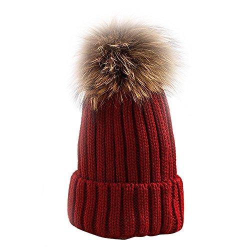 B1ST Women Girls Beanie Real Raccoon Fur Pom Pom Pompon Ball Winter Hats Knit Beanie Crochet Ski Cap(Red)