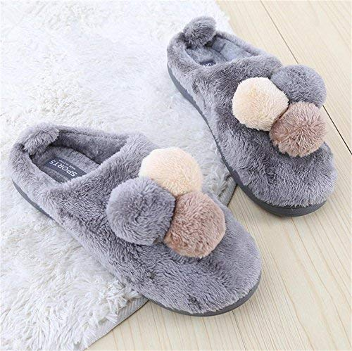 1 JaHGDU Warm Slippers Men Casual Cotton Slippers Patchwork Hairball Stylish Cute Classic Wild Winter and Autumn Keep Warm Inddor Slippers