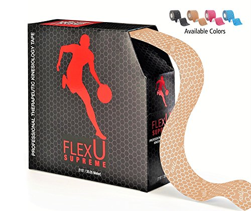 FlexU – Skin Tone Kinesiology Tape; 115 feet Continuous Bulk Pack; Advanced Strength and Flexibility Properties; Longer Lasting, Pro Grade Therapeutic Recovery Synthetic Sports Tape