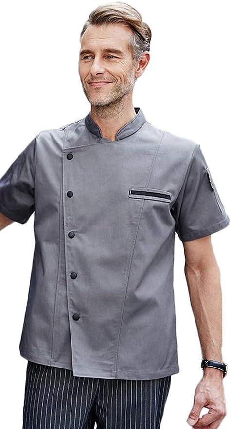 Camisa de Cocinero Cocina Uniforme Manga corta Colores Múltiples Rojo Blanco Negro Gris Absorción de Humedad Color Sólido Sin Desvanecimiento,Gris,XL: Amazon.es: Hogar