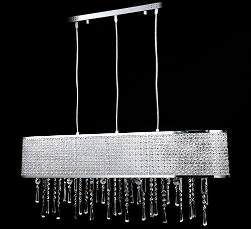 Kronleuchter Esstisch Glas Kristall Deckenleuchte Lüster Pendelleuchte  Hängeleuchte Esszimmer Hängelampe Lang Länglich 100x18cm Höhe Einstellbar  3x ...