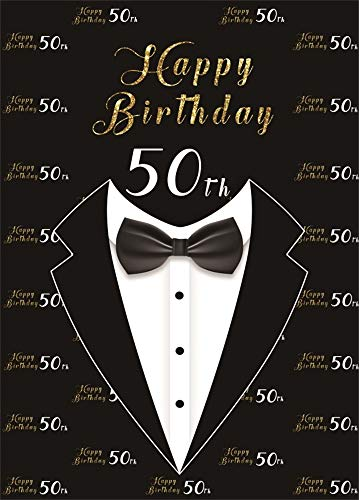 AOFOTO 7x10ft Happy 50th Birthday Backdrop for Men Bow Tie Tuxedo Black Background for Photography Grandfather Father Fifty Bday Bash 50 Year Old Party Cebelration Wallpaper Photo Studio Props Vinyl ()