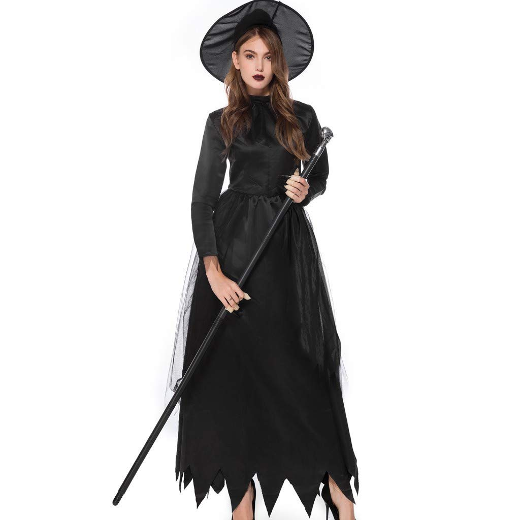 Bravetoshop Women 2 Piece Halloween Magic Witch Dress Party Costume Cosplay Deluxe Hooded Robe Long Dress(Black,M)