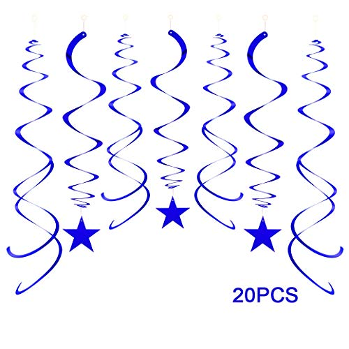 - ZOOYOO Party Star Swirl Decorations, Blue Foil Ceiling Hanging Swirl Decorations with Star, Whirls Decorations for Birthday | Wedding | Anniversary | Graduation Party Supplies, Pack of 20