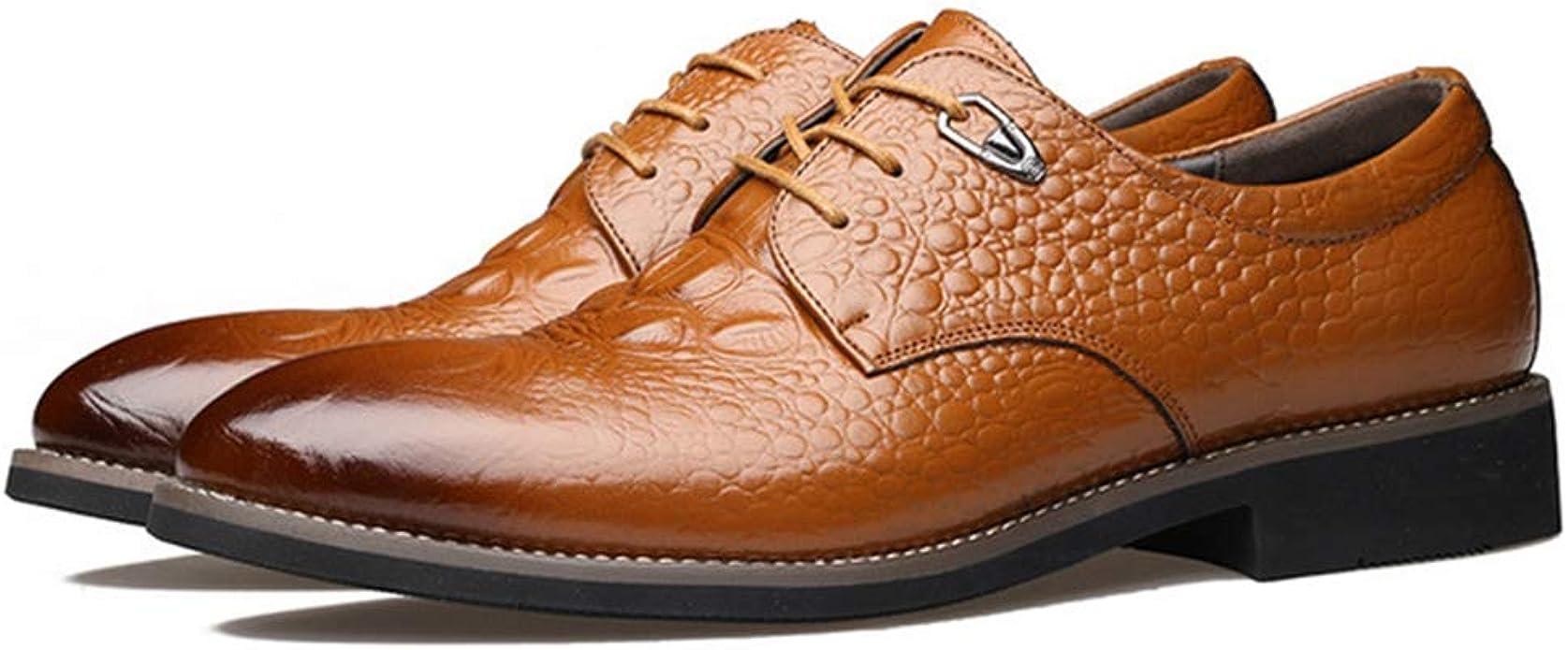 XIGUAFR Chaussure en Cuir Habillée Pointue de Costume de Travail Décontractée Homme Souple Basse Chaussure a Lacet en Motif Crocodile Respirant