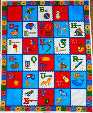"""""""A to Zoo"""" ABC's School Room """"Alphabet & Animal Patchwork"""" Flannel Panel (Great for Quilting, Sewing, Throw Blankets, Wall Hangings, and More) 35"""" X 44"""" Long"""
