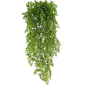 HUAESIN Artificial Greenery 2pcs Fake Hanging Vines Faux Trailing Plants Artificial Ivy Climbing Plants Plastic for Outside Wedding Balcony Basket Decor 67