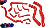 1995 1996 1997 1998 1999 Mitsubishi Eclipse GST GSX Turbo with 2.0L Turbocharged Engine Silicone Radiator Coolant Heater Hose Complete Kit with Clamps 11pcs (Red)