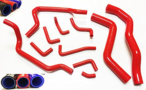 Eclipse Gst Turbo (1995 1996 1997 1998 1999 Mitsubishi Eclipse GST GSX Turbo with 2.0L Turbocharged Engine Silicone Radiator Coolant Heater Hose Complete Kit with Clamps 11pcs (Red))