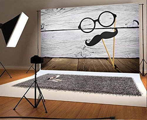 Laeacco 7x5ft Vinyl Photography Backdrop Funny Mustache and Glasses on Sticks Against a Rustic White Wood Photo Background Children Baby Adults Portraits ()