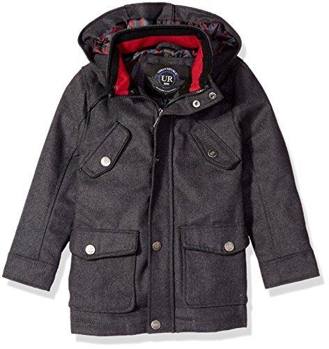 Urban Republic Boys' Wool Miltary Coat Charcoal (Large 14/16)