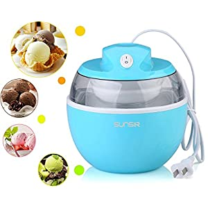 SunSir Mini (0.6 Quart/ 0.6L) Automatic Ice Cream Maker, Frozen Fruits Sorbet Maker, Ice Cream Machine for Kids With User Manual & Ice Cream Recipes-- Own Healthy Ingredients