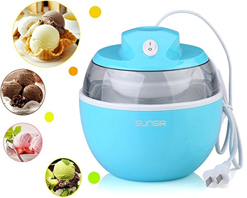 SunSir Mini (0.6 Quart/ 0.6L) Automatic Ice Cream Maker, Frozen Fruits Sorbet Maker, Ice Cream Machine for Kids With User Manual & Ice Cream Recipes-- Own Healthy (Ice Cream Maker Kids)