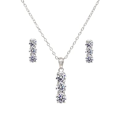 5479144841 Rectangle 3 Stones Jewelry Set Necklace & Earrings AAA Cubic Zirconia For  Women Wedding Party Prom