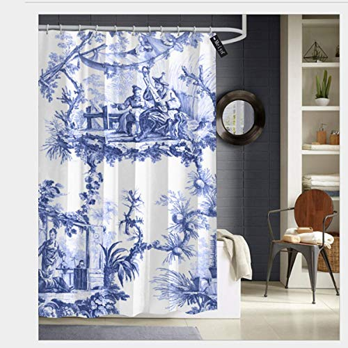 Puloa Blue Chinoiserie Toile Shower Curtains with 12 Hooks,Durable Mildew Bathroom Curtain 72