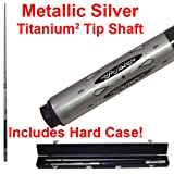 2 Piece Deluxe Metallic Silver Titanium Pool Stick Cue - With Carrying Case!